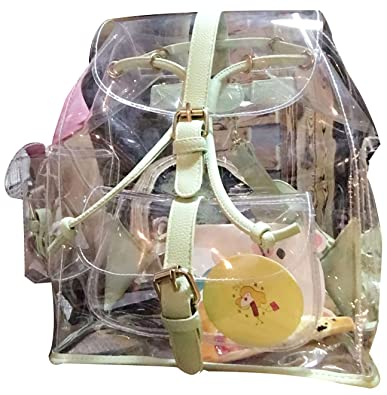 73bd5f70ff ilishop Women s Clear PVC See Through Transparent Backpack Girls Bag Travel  Backpacks (Green)