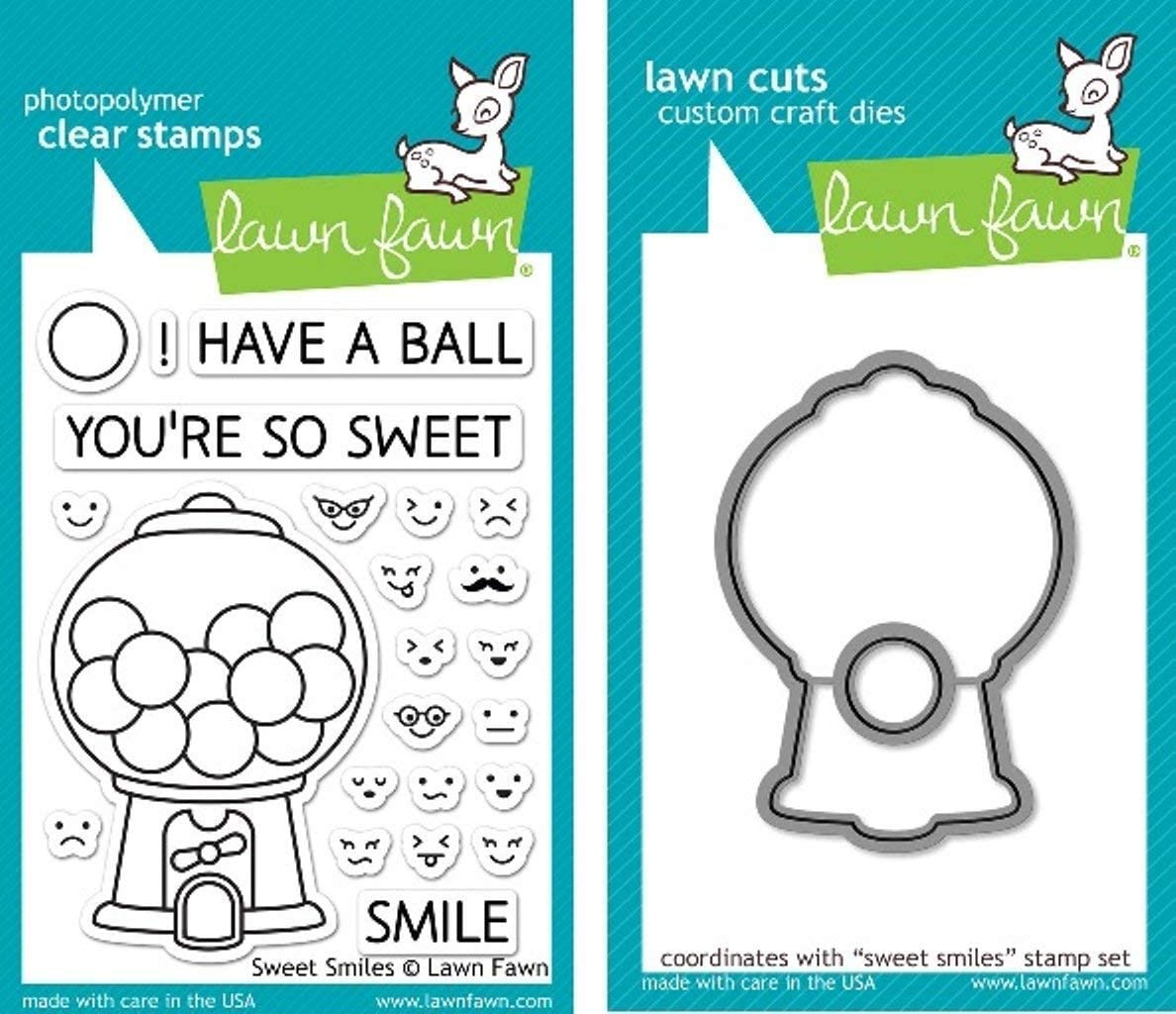 Lawn Fawn Bundle of 2 Items - Sweet Smiles Clear Stamp (LF895) and Die (LF896) Set