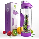 Infusion Pro Fruit Infusion Water Bottle (32 oz) - Includes Neoprene Insulation Sleeve and Rec-ipe eBook - Built-In Strainer