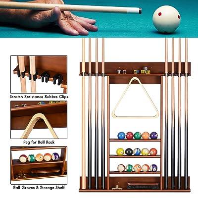 Snooker pool Cue rack 8 cues wall 2 piece snooker pool cue rest mahogany