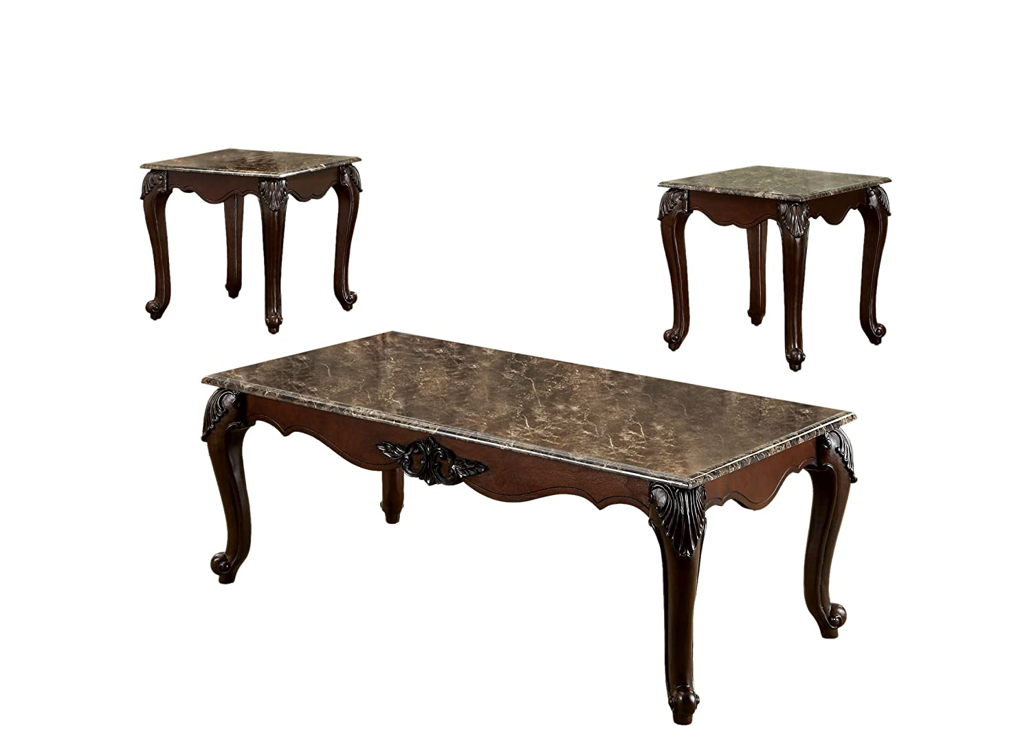 Amazon.com: Furniture Of America Margaux 3 Piece French Style Accent Table  Set With Faux Marble Tops, Dark Cherry Finish: Kitchen U0026 Dining