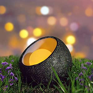 Evohere Solar Lights Outdoor Decorative, Resin Dinosaur Egg Solar Powered Outdoor Lights Decor, Waterproof Amber LED Landscape Lighting for Garden Patio Porch Yard Lawn Pathway Deck and Table
