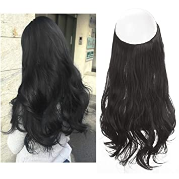Amazoncom Black Hair Extensions No Clip In Halo Hairpiece Long 18