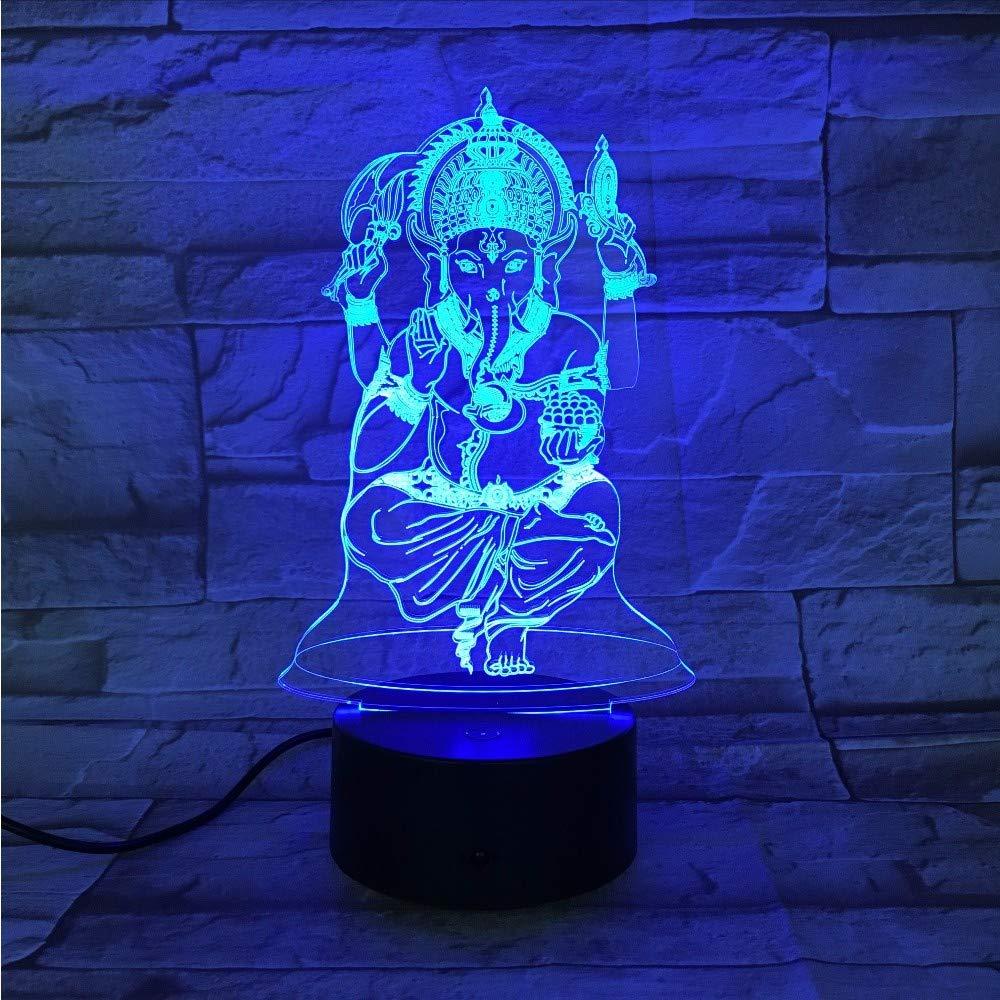 Lifme Buddha 7 Cambio De De De Color 3D Luz De Noche Colorida Lámpara De Ilusión Visual Estereoscópica Usb 3Aa Batería Led Lámpara Light Gx-653 680d7b