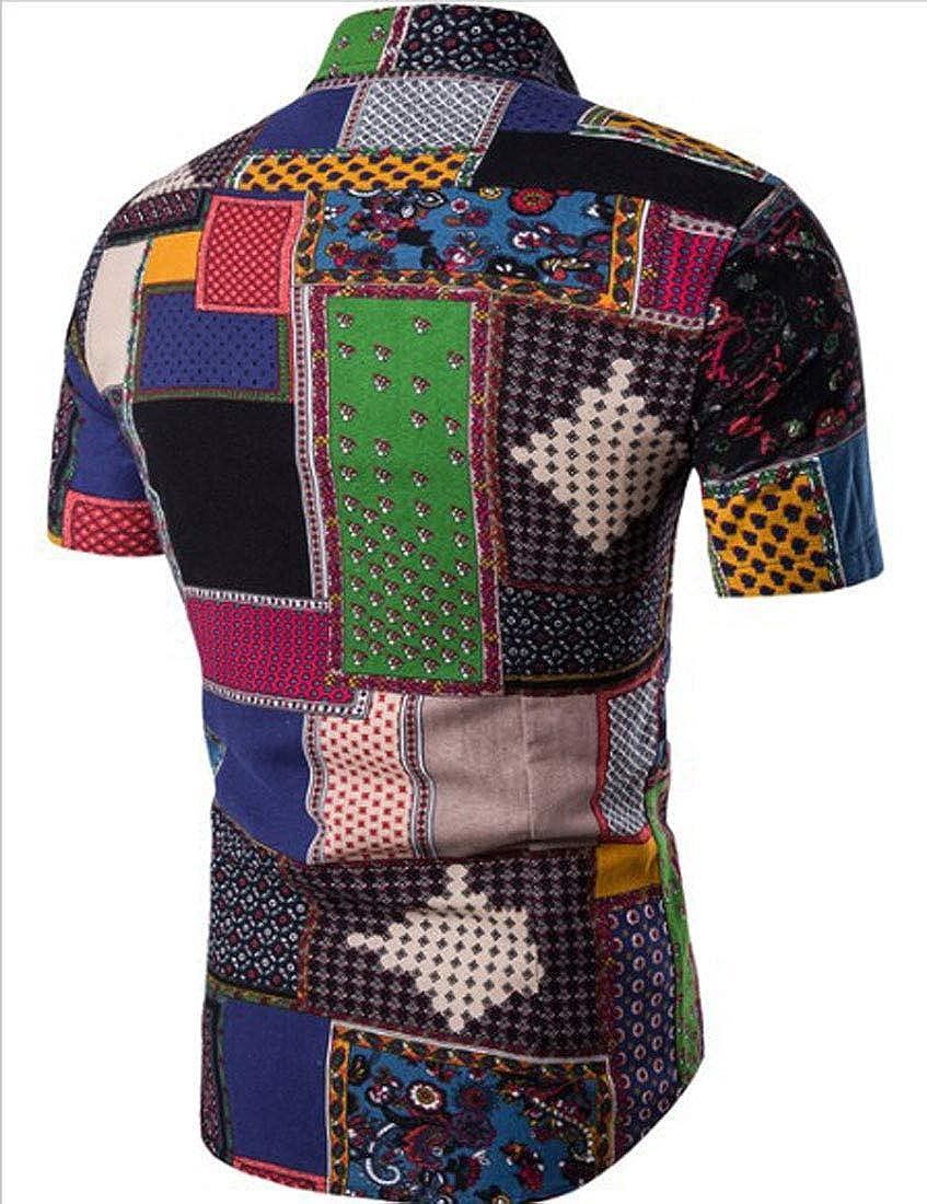 GH Mens Fashion Linen Short Sleeve Top and Shorts 2 Piece Shorts 2 Piece Set Summer