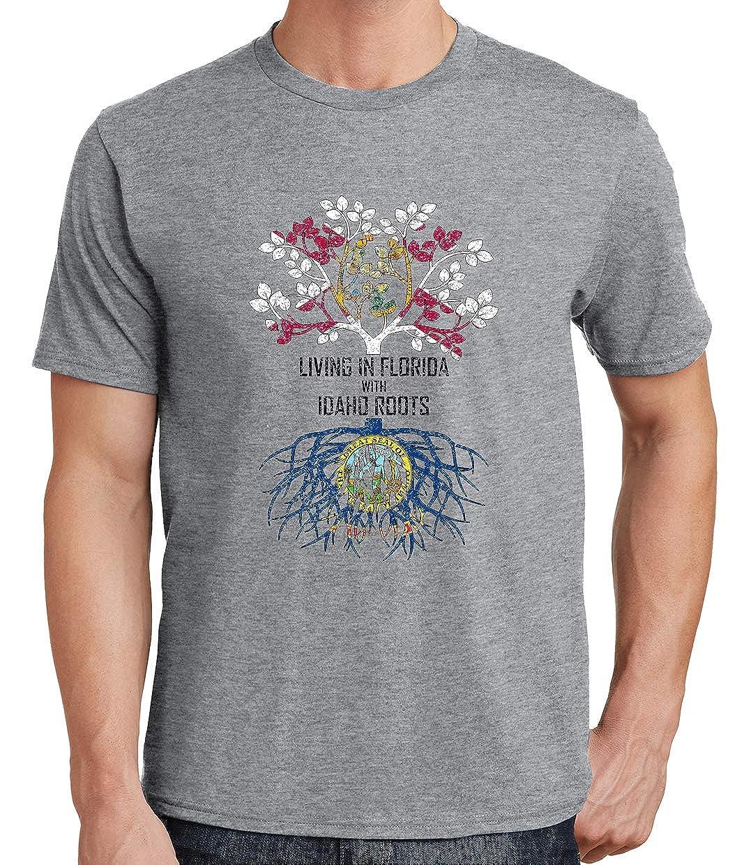 Tenacitee Mens Living in Florida Idaho Roots T-Shirt