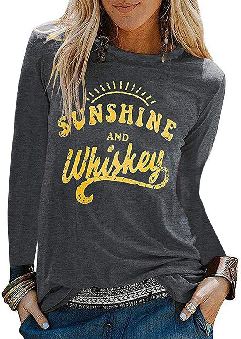 Sunshine and Whiskey Women's Novelty Graphic Tees Funny Workout Long Sleeve Shirt Classic Round Neck Tops(Grey, S)