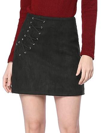 fbc00656f3288a Allegra K Women's Eyelet Lace-up High Waist Faux Suede A-Line Short ...