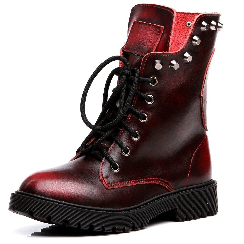 Shenn Women's Round Toe Knee High Punk Military Combat Boots(Wine Red,US6.5)