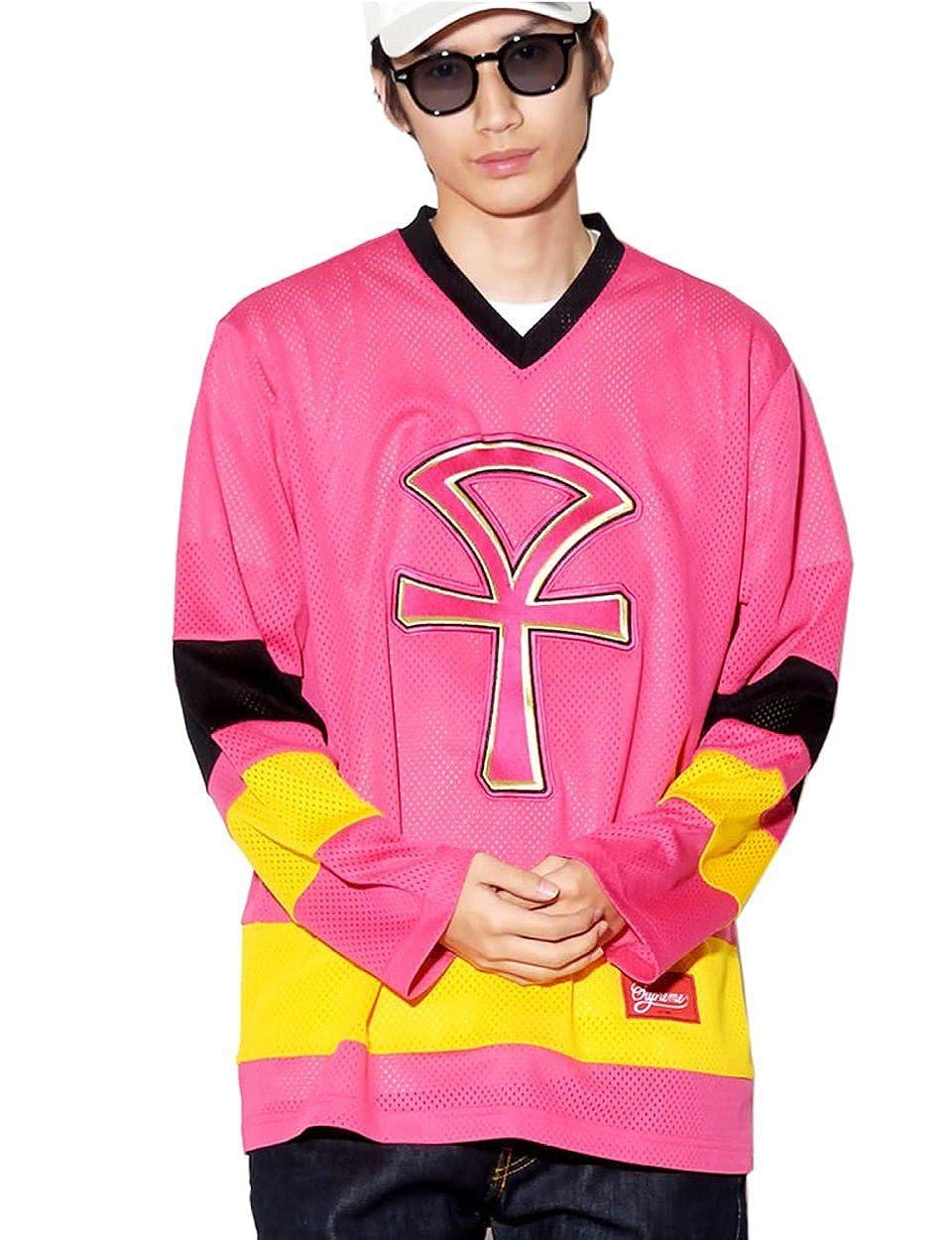 (シュプリーム) SUPREME ホッケーシャツ メッシュ ANKH HOCKEY JERSEY [並行輸入品] B07CP3HB9J  ピンク L