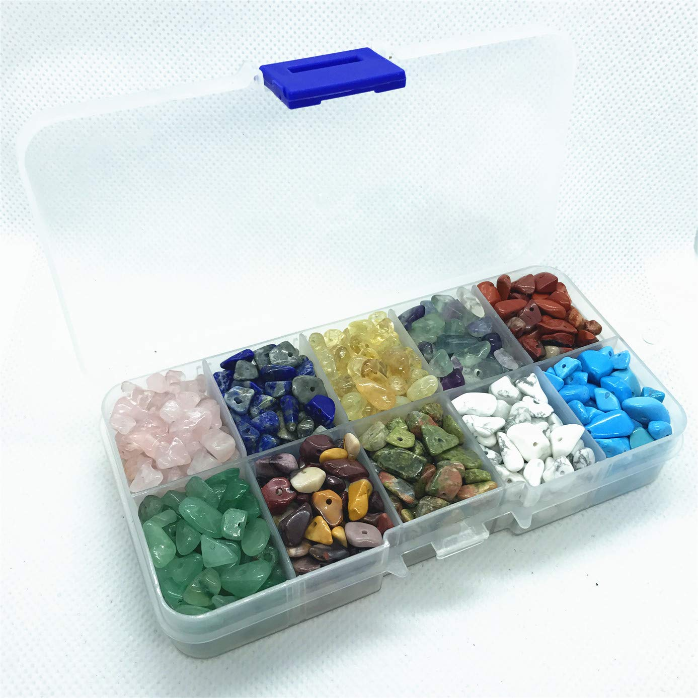 Healing Engry Crystals Polishing Crushed Irregular Shaped Beads with Box 15 Materials 1500 Pcs Chip Gemstone Beads DIY Jewelry Making