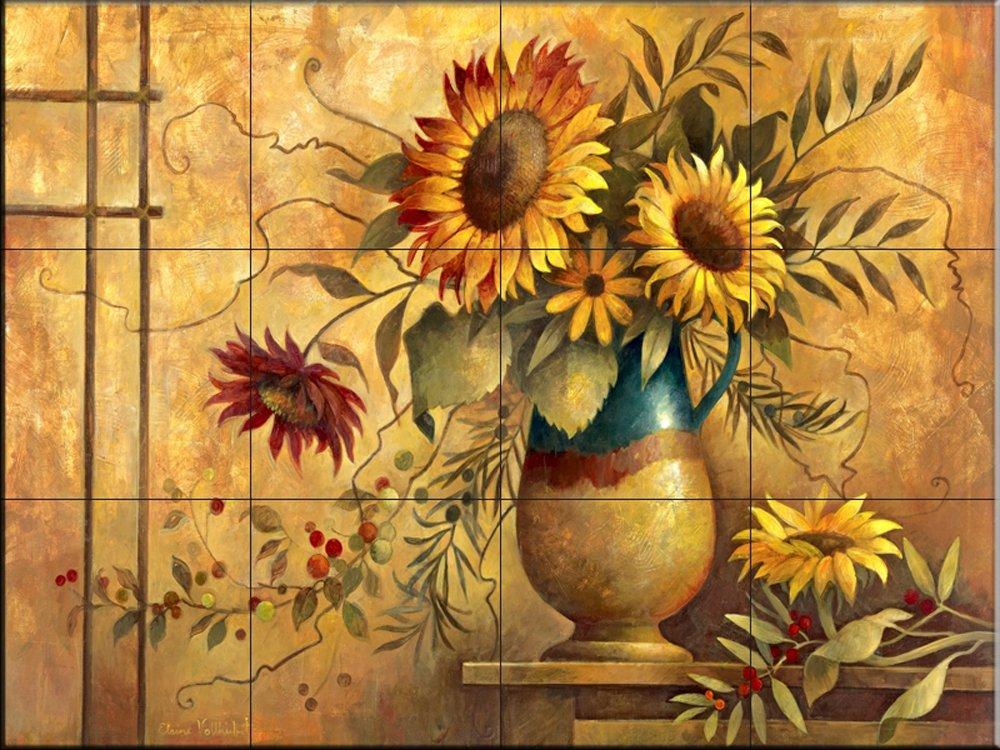 Ceramic Tile Mural - Country Sunflowers I - by Elaine Vollherbst-Lane - Kitchen backsplash/Bathroom Shower