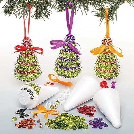 Decorazioni Natale Bambini 3 Anni.Baker Ross Kit Di Decorazioni Alberi Di Natale In Paillettes Ideali Per Attivita Per Bimbi Confezione Da 3