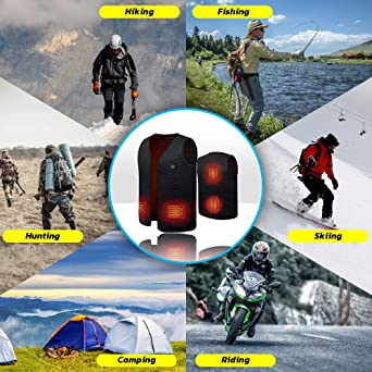 Winter Warm Vest Jacket for Outdoor Skiing Camping Adjustable Temperature Washable USB Charging Electric Heated Waistcoat for Men Women Hiking Fishing BURFLY Heated Vest Gilets