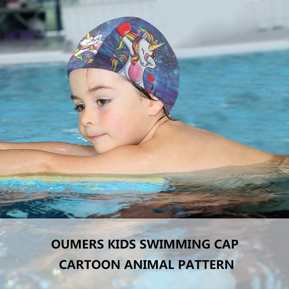 Dabbing Unicorn Heart Men Girls Kid Galaxy Cartoon Swimming Pool Bathing Shower Caps Hat Head Cover Waterproof Reusable for Kid Girls Boy Junior Toddler Children Baby Beach Dress Clothing