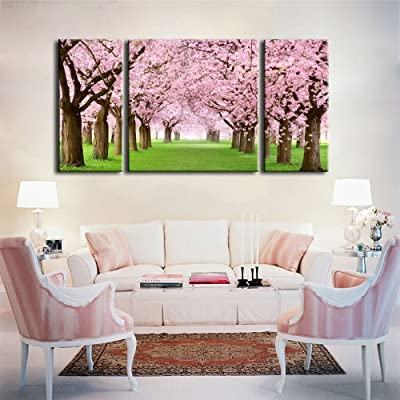 Buy Noah Art Rustic Landscape Art Print Japanese Cherry Blossom Sakura Tree Artwork Flowers Pictures On Canvas Prints 3 Piece Stretched Tree Wall Art For Bedroom Wall Decor Ready To Hang Online In