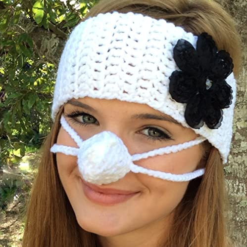 Amazon White Ear Warmer Nose Warmer Set By Aunt Martys