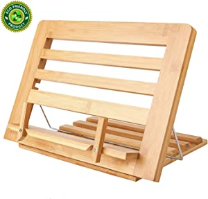 Bamboo Book Stand Display Adjustable Foldable Tray Page Paper Clips ipad Stand/Cookbook Stand/Foldable Tablet PC Textbook/rdy Lightweight Bookstand Textbooks Music Books Bookstands Cook Recipe Stands