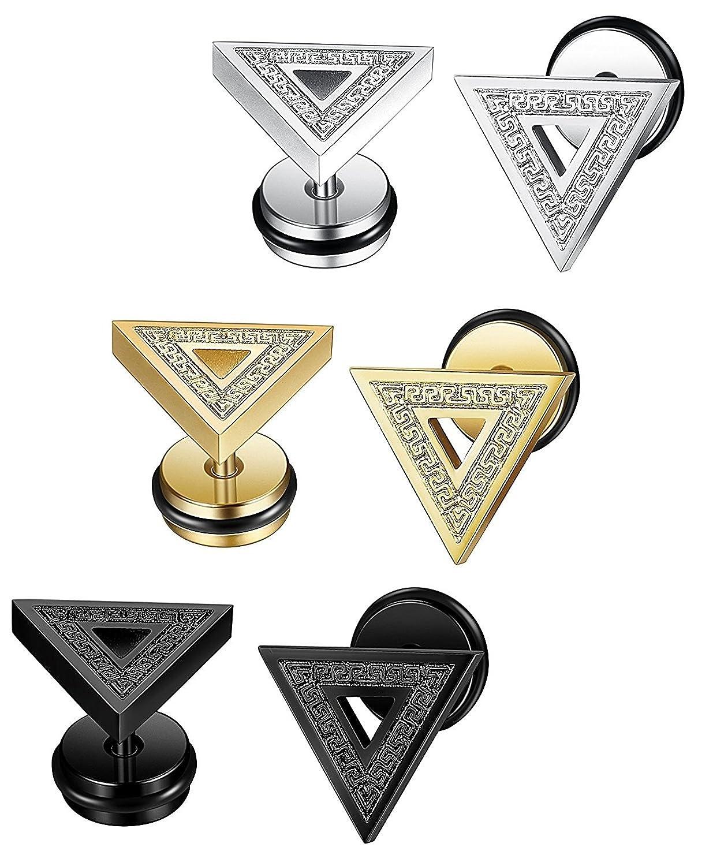 Sailimue 3-4Paires Acier Inoxydable Boucle d/'Oreille Triangle pour Homme Femme Piercing Oreille Clou