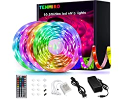 Tenmiro 65.6ft Led Strip Lights, Ultra Long RGB 5050 Color Changing LED Light Strips Kit with 44 Keys Ir Remote Led Lights fo