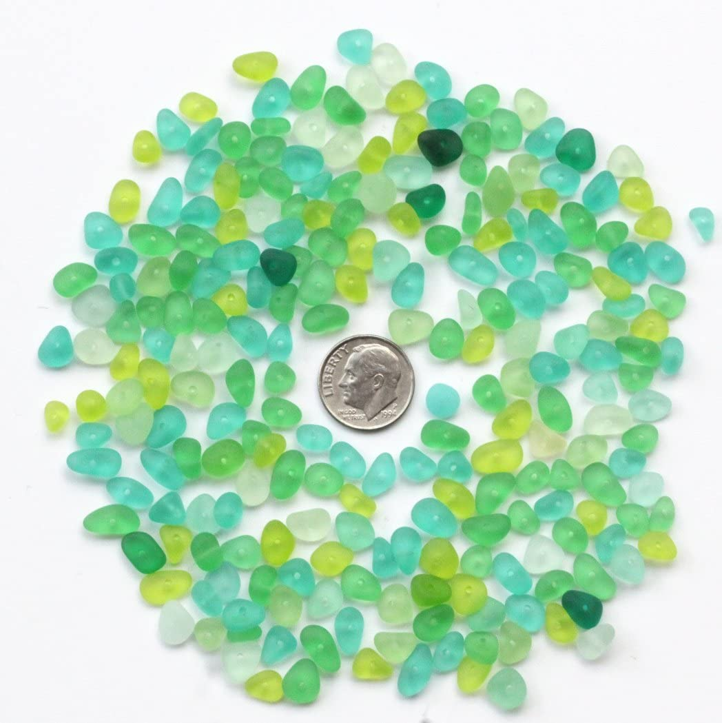 Blue Lilyhandmade 30 pieces 6-8 mm tiny center drilled sea beach glass jewelry use