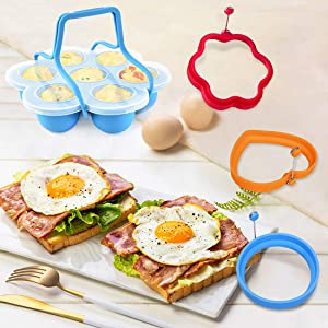Kalevel Silicone Egg Bite Tray Pressure Cooker Egg Bites Accessories and 3pcs Egg Rings Nonstick Pancake Maker (Blue Set)