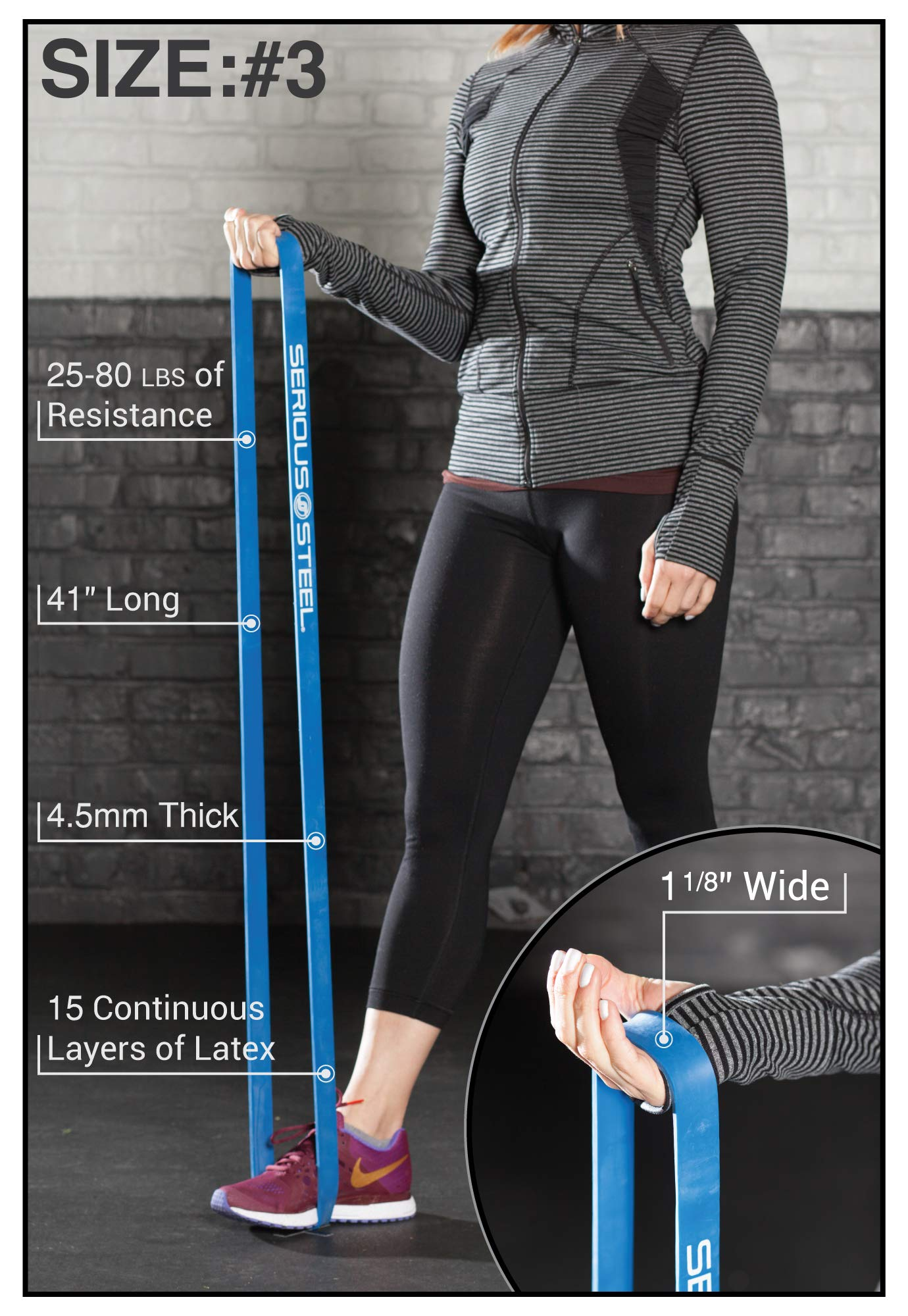 """Serious Steel Fitness Blue - #3 Light Pull-Up Assist & Stretching Resistance Band (Size: 1.125""""W, Resistance: 20-80lbs) Pull-Up and Starter Band e-Guide INCLUDED by Serious Steel Fitness (Image #3)"""