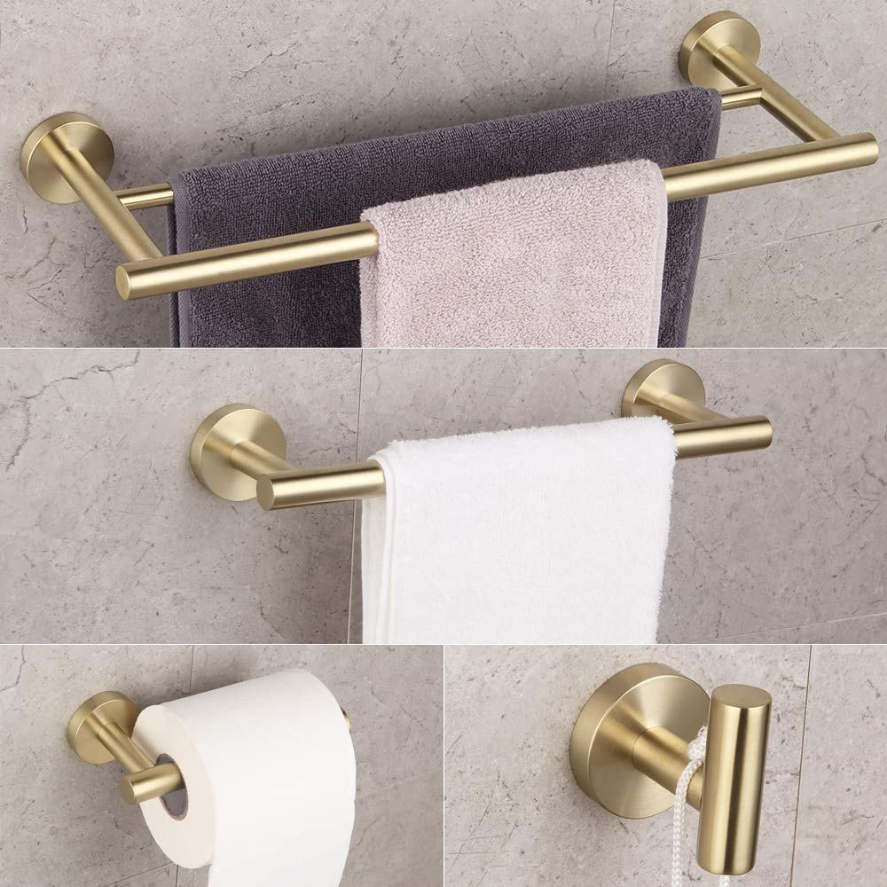 Bathroom Hardware Set 4 Pieces Brushed PVD Zirconium Gold SUS 304 Stainless Steel Bathroom Hardware Accessories Sets Wall Mounted Double Towel Bar Towel Holder Hook Toilet Paper Holder by GERZ (Image #1)