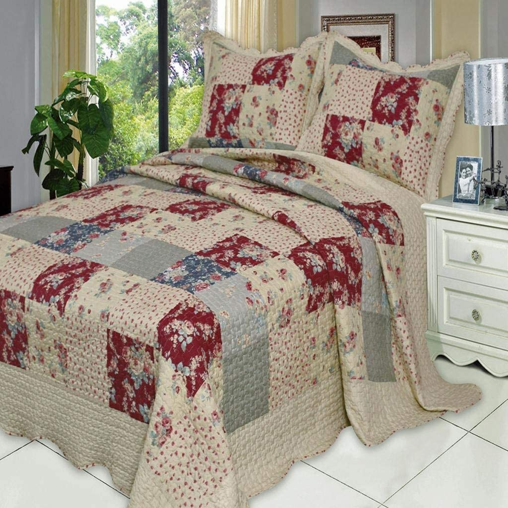 Finely Stitched 3 Piece Coverlet Quilt Set Queen Full Size 92x96 Luxury Vintage Plaid Floral Patchwork Reversible Lightweight Bedroom Bedspread All Season 1 Quilt And 2 Pillow Shams Burgundy Home Kitchen