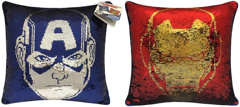 Marvel Avengers 20 Captain America Iron Man Reversible Sequin Pillow