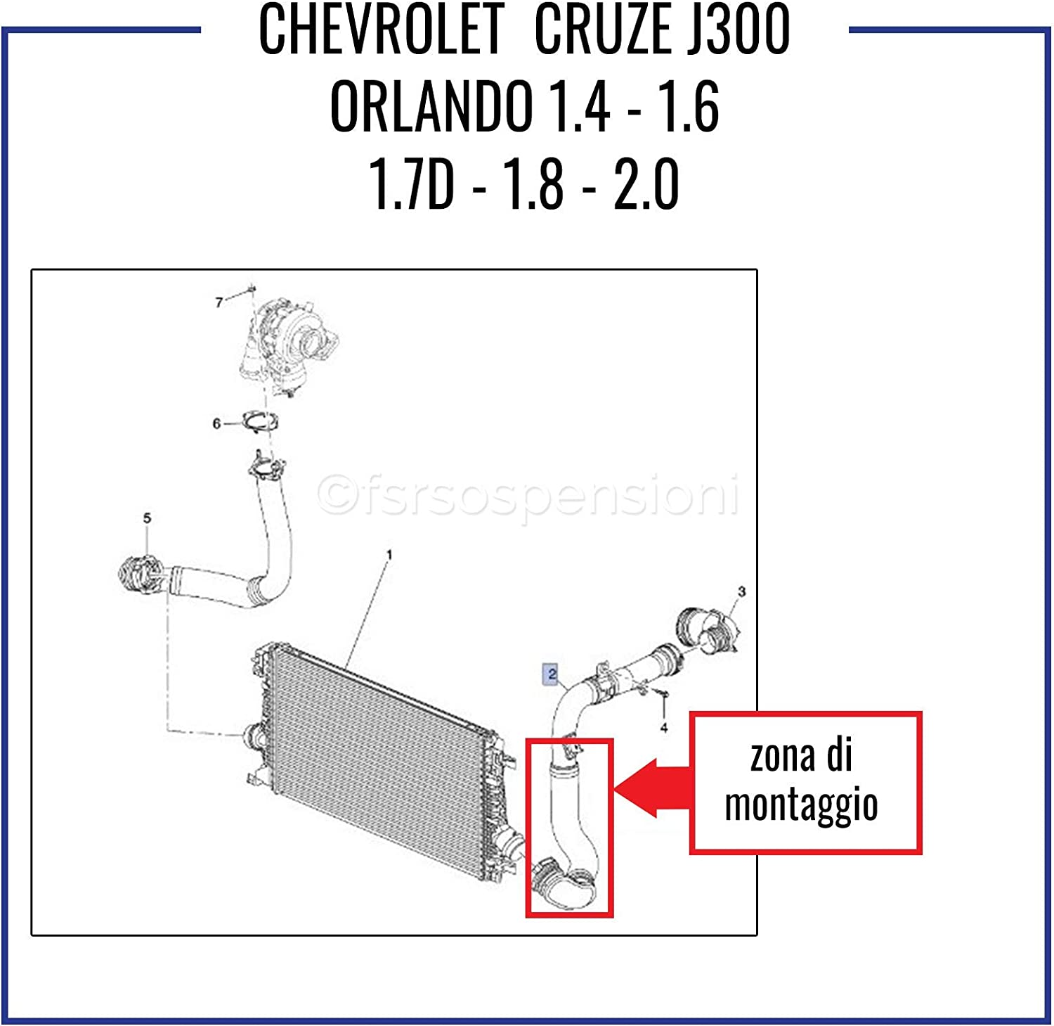C H E V R O L E T CRUZE J300 ORLANDO POIGN/ÉE INTERCOOLER TUBE TURBO AIR 95048394-95275281