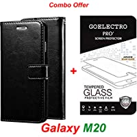 Goelectro Samsung Galaxy M20 / Galaxy M20 (Combo Offer) Leather Dairy Flip Case Stand with Magnetic Closure & Card Holder Cover + Tempered Glass Full Screen Protection (Black-Transparent)