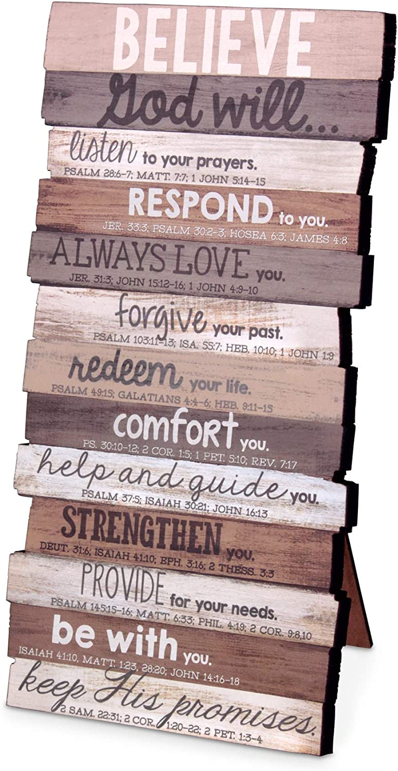 Lighthouse Christian Products Believe God Will Keep His Promises Rustic Stacked Pallet 5 x 10 Wood Plaque