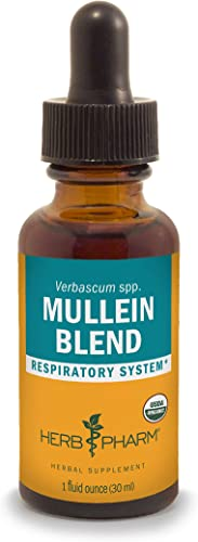 Herb Pharm Certified Organic Mullein Blend Extract for Respiratory System Support – 1 Ounce