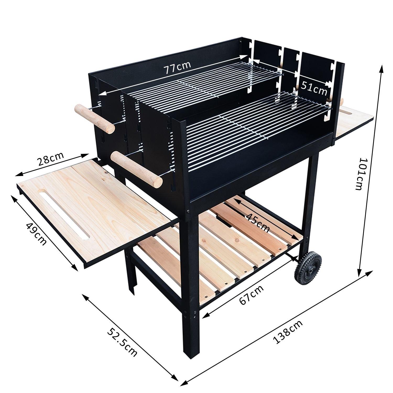 Outsunny Carrito de gris Barbacoa parrilla para exteriores diseño cilíndrico de calefacción calor ahumador 138 x 52, 5 x 101 cm: Amazon.es: Jardín