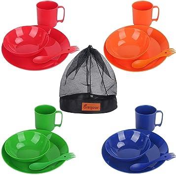 Bisgear - Vajilla de melamina para camping, 4 personas ...