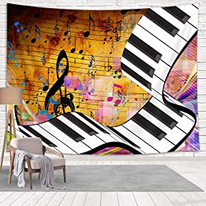 Music Tapestry,Vintage Black and White Music Note Psychedelic Tapestry Wall Hanging, Colorful Musical Notes Small Tapestry for Teen Boy Girl Living Room Dorm Bedroom Home Decorations, 60X40in Small