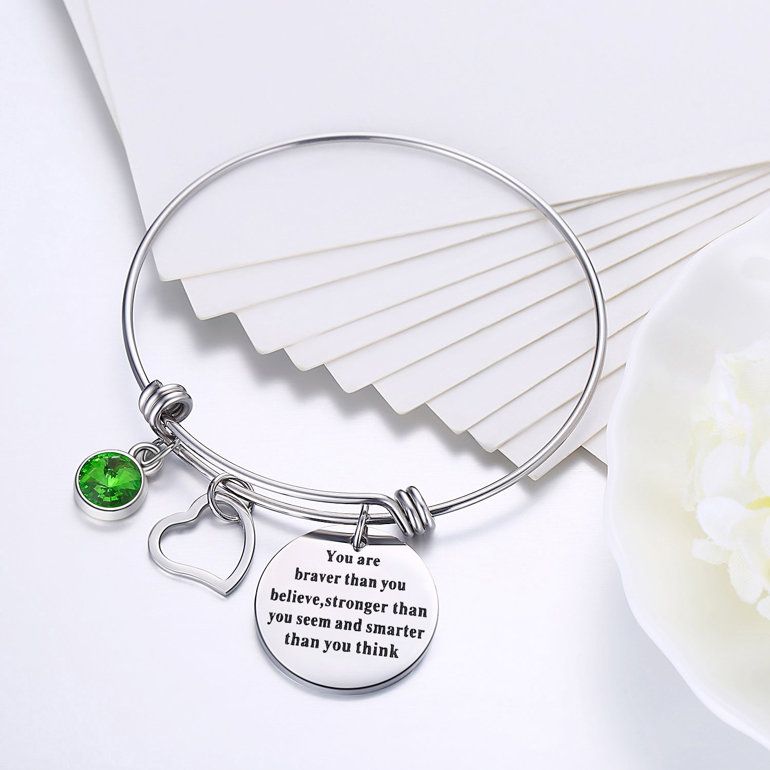 Yoomarket ''You are braver than you believe Inspirational Birthstone and Heart Adjustable Charm Bangle Bracelet Stainless Steel Womens Jewelry Birthday Girls Gifts(08-Aug.-Peridot) by Yoomarket (Image #2)