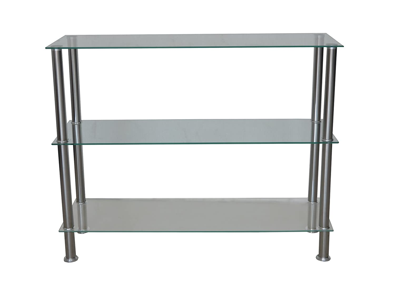 Modern Glass Console Table, Tempered Glass Sofa Table, Book Shelf, Clear Nola Furniture