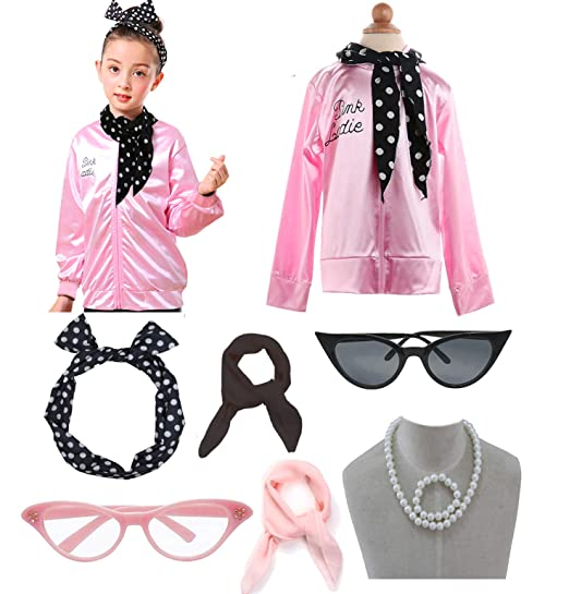 Amazoncom Child 1950s 50s Pink Party Jacket Ladies Costume Outfit