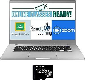 2021 Samsung Chromebook 4+ 15.6 Inch Laptop| FHD 1080P Display| Intel Celeron N4000 up to 2.6 GHz| 4GB LPDDR4 RAM| 32GB eMMC| WiFi| Webcam| Chrome OS + NexiGo 128GB MicroSD Card Bundle