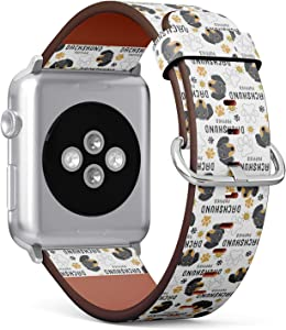 Compatible with Small Apple Watch 38mm & 40mm (Series 5, 4, 3, 2, 1) Leather Watch Wrist Band Strap Bracelet with Stainless Steel Clasp and Adapters (Dachshund Dog Breed Collection)