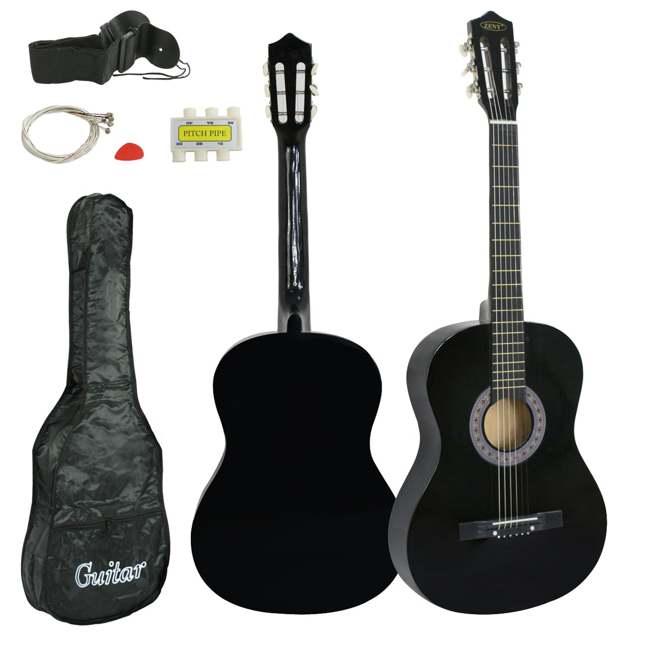 ZENY Beginners 38'' Acoustic Guitar Package Kit for Right-handed Starters Kids Music Lovers w/Case, Strap, Digital E-Tuner, and Pick, Black by ZENY (Image #3)