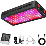 Phlizon Newest 900W LED Plant Grow Light,with Thermometer Humidity Monitor,with Adjustable Rope,Full Spectrum Double Switch Plant Light for Indoor Plants Veg and Flower- 900W(10W LEDs 90Pcs)
