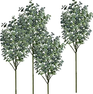Supla 4 Pcs Eucalyptus Leaves Artificial Greenery Eucalyptus Branches Floral Stems Fake Eucalyptus Plant Spray Floral Greens Tall Greenery for Vases Farmhouse Wedding Jungle Party Outdoor Decor