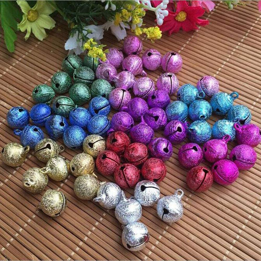 Multicolor Party OBTANIM 50 Pcs Mini Frosted Jingle Bells 15mm Small Colored Craft Bell for DIY Making Christmas Wedding Festival Decorations and Jewelry Making
