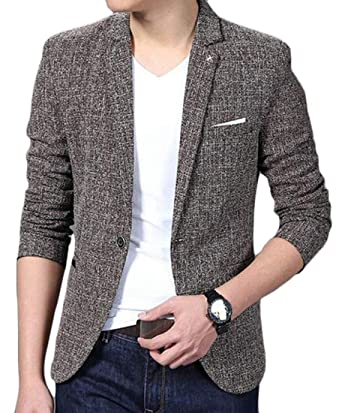 Fubotevic Mens Business Checked Button Up Plus Size Formal Dress Blazer Jacket Coat