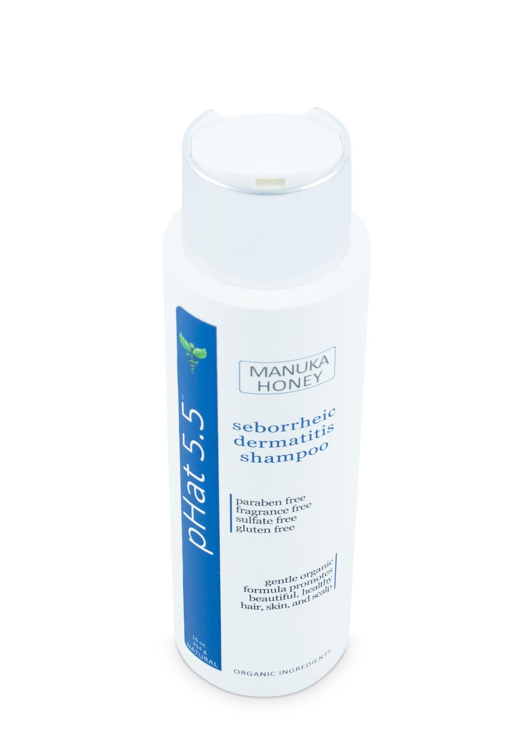 Sulfate Free Shampoo for Seborrheic Dermatitis with Manuka Honey, Coconut Oil and Aloe Vera - Dandruff and Itchy Scalp Treatment - Antifungal Moisturizing Shampoo for Dry Scalp Treatment (16 oz) by pHat 5.5 (Image #3)