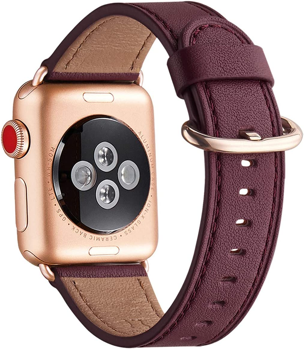 WFEAGL Compatible iWatch Band 40mm 38mm, Top Grain Leather Band with Gold Adapter (the Same as Series 5/4/3 with Gold Aluminum Case in Color) for iWatch SE & Series 6/5 /4/3/2/1 (Wine Band+RoseGold Adapter)