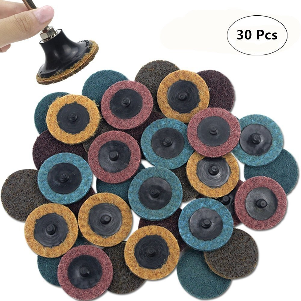 Surface Conditioning Discs for Die Grinder Surface Prep Strip Grind Polish Finish Burr Rust Paint Removal 25Pcs A//O Sanding Discs with 1//4 Holder 3 inch Roloc Quick Change Discs Set